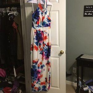 Multi color white long dress
